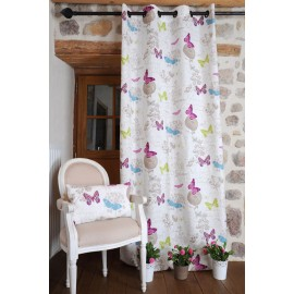 Amenajare cu draperie si perna decorativa Butterfly alba cu fluturi colorati 30x50cm