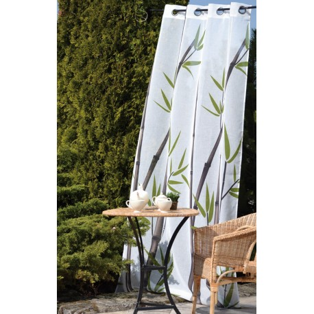 Perdea alba SPA cu bambus verde