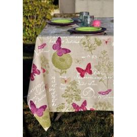 Fata de masa Butterfly bej cu fluturi colorati