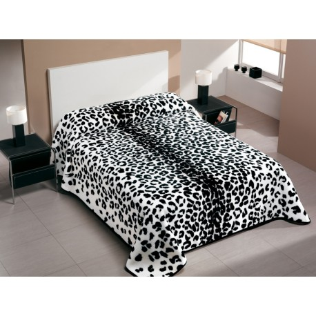 Patura animal print Leopard alb-negru
