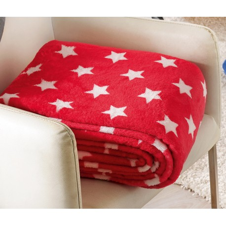 Patura rosie STARS cu stelute albe