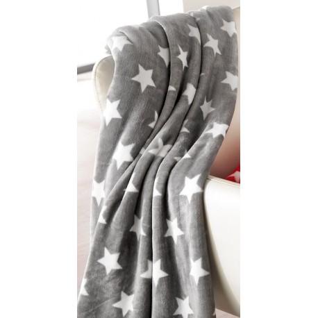 Patura gri STARS cu stelute albe