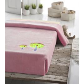 Patura copii pufoasa roz cu broderie Copacei