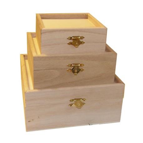 Set 3 cutii lemn patrate cu capac