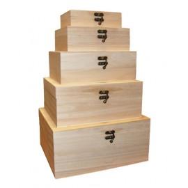 Set 5 cutii lemn dreptunghiulare cu capac