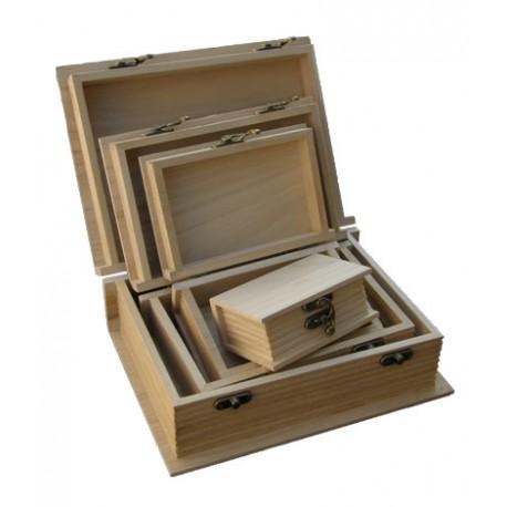 Set 4 cutii lemn cu forma de carte