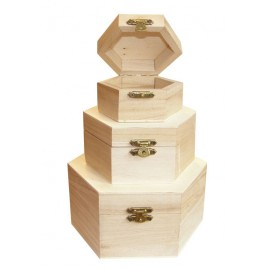 Set 3 cutii lemn hexagonale cu capac
