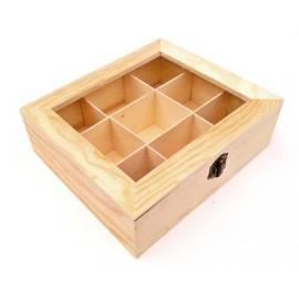 Cutie lemn cu 9 compartimente pentru plicuri de ceai