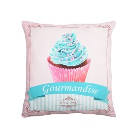 Perna decorativa roz Chantilly 1 cu cupcake turcoaz