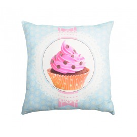 Perna decorativa bleu Chantilly 2 cu cupcake roz