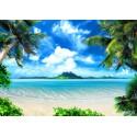 Fototapet Plaja exotica cu palmieri