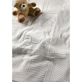 Patura bebelusi alba din bumbac cu Ursulet