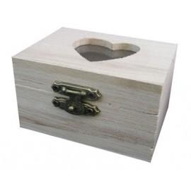 Cutie lemn - capac cu sticla in forma de inima