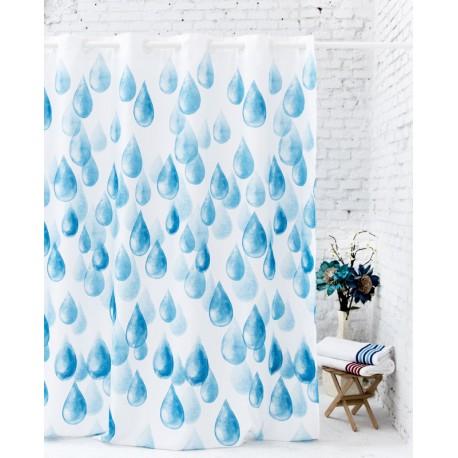 Perdea dus Rain alba cu picaturi albastre