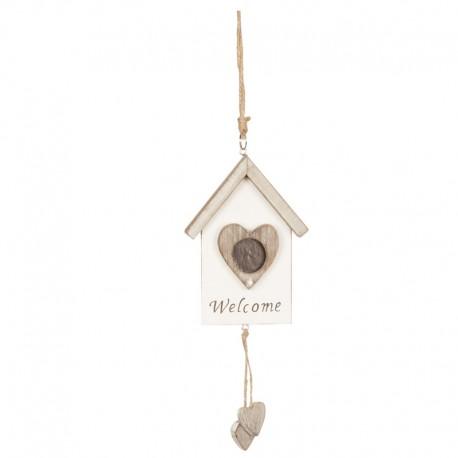 Casuta lemn decorativa Welcome cu inimioare