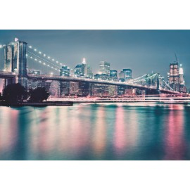 Fototapet Podul Brooklyn - Neon