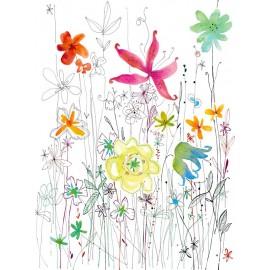 Decorare cu Fototapet Joli cu flori in creion si acuarela