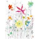 Fototapet Joli cu flori in creion si acuarela