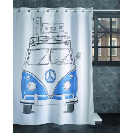 Perdea dus alba VW Transporter albastra