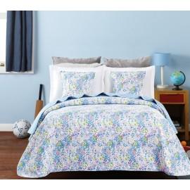 Cuvertura pat Candy cu flori bleu