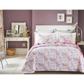 Cuvertura pat Candy cu flori roz