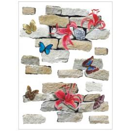 Decor perete Zid cu flori si fluturi