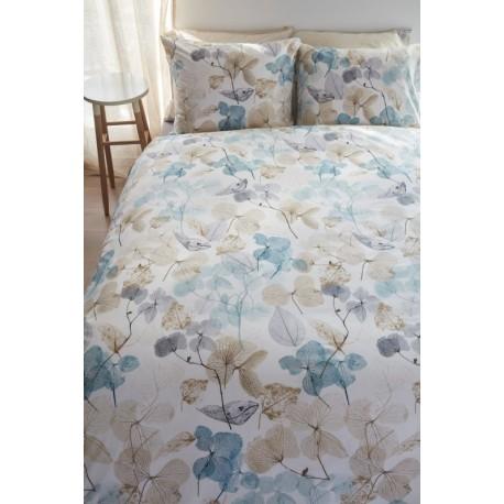 Lenjerie de pat cu flori Deltane Aqua Blue