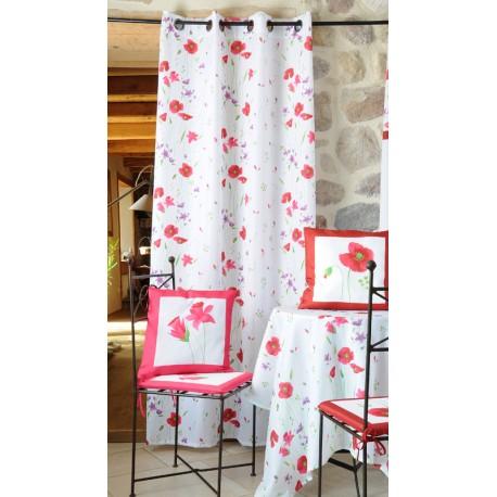 Perdea alba Narciso cu flori de mac rosu