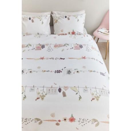 Lenjerie de pat alba cu flori Shabby Chic