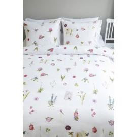Lenjerie de pat alba cu flori colorate