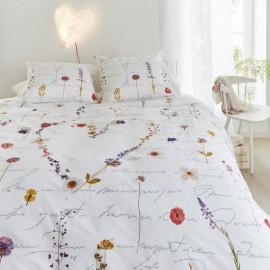 Lenjerie pat alba cu flori de camp