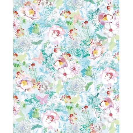 Autocolant cu flori de camp si fluturi