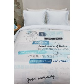 Lenjerie de pat moderna bleu cu mesaje