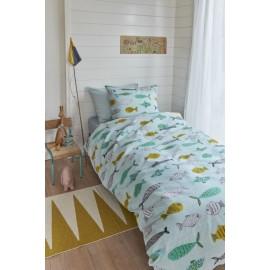 Lenjerie de pat copii verde cu pestisori