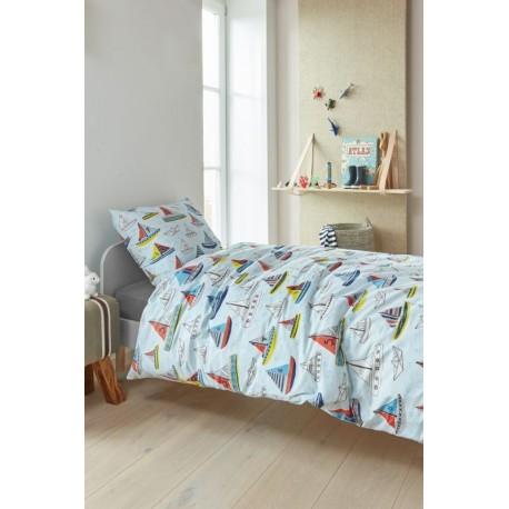 Lenjerie pat copii bleu cu barcute