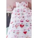 Lenjerie de pat fetite cu inimioare rosii si roz
