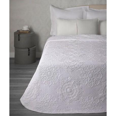 Cuvertura pat alba cu flori Makemo