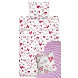 Lenjerie de pat fete cu inimioare