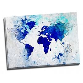 Tablou albastru Harta lumii