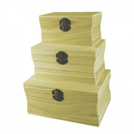 Set 3 cutii lemn cu capac 18x13x9 cm