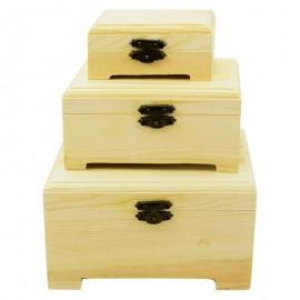 Set 3 cutii lemn cu picioare