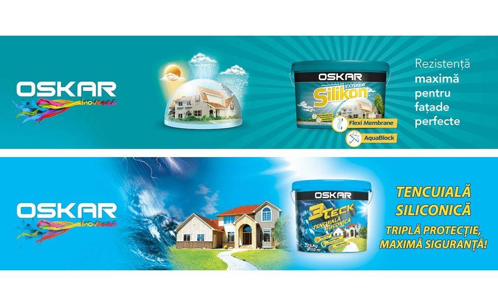 Tencuiala decorativa Oskar 3teck si Vopsea lavabila Oskar Silikon pentru exteriorul casei tale